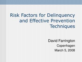 Risk Factors for Delinquency and Effective Prevention Techniques