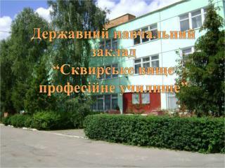 """Державний навчальний заклад  """"Сквирське  вище професійне  училище"""""""