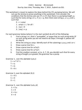 CS311   Exercise     # 6 (revised) Due by class time, Thursday, Nov. 7, 2013 , Submit via D2L