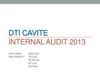 DTI CAVITE  Internal Audit 2013