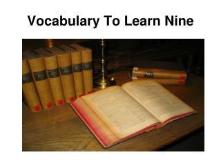 Vocabulary To Learn Nine