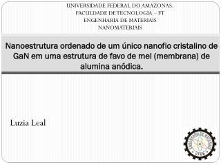 UNIVERSIDADE FEDERAL DO AMAZONAS. FACULDADE DE TECNOLOGIA – FT  ENGENHARIA DE  MATERIAIS