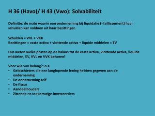 H 36 (Havo)/ H 43 (Vwo): Solvabiliteit