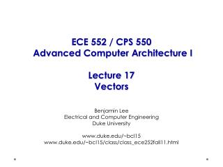 ECE 552 / CPS 550  Advanced Computer Architecture I Lecture 17 Vectors