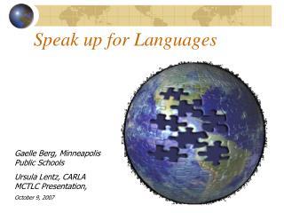 Speak up for Languages
