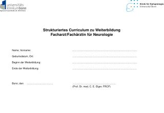 Strukturiertes Curriculum zu Weiterbildung Facharzt/Fachärztin für Neurologie