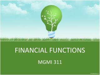FINANCIAL FUNCTIONS