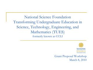 National Science Foundation  Transforming Undergraduate Education in Science, Technology, Engineering, and Mathematics T