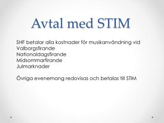 Avtal med STIM
