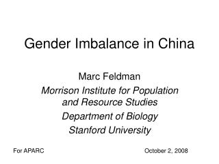 Gender Imbalance in China