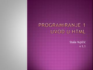 Programiranje 1 uvod  u html