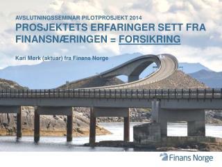 Avslutningsseminar pilotprosjekt 2014 Prosjektets erfaringer sett fra finansn�ringen =  Forsikring