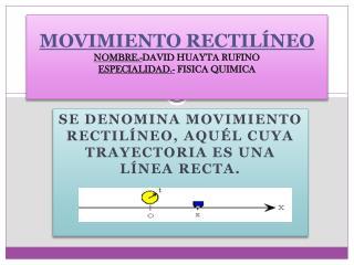 MOVIMIENTO RECTILÍNEO NOMBRE.- DAVID HUAYTA RUFINO ESPECIALIDAD.-  FISICA QUIMICA