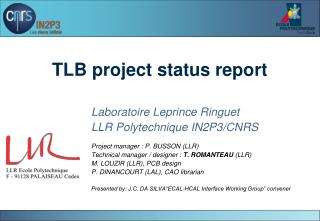 TLB project status report