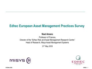Edhec European Asset Management Practices Survey
