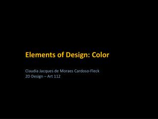 Elements of Design: Color