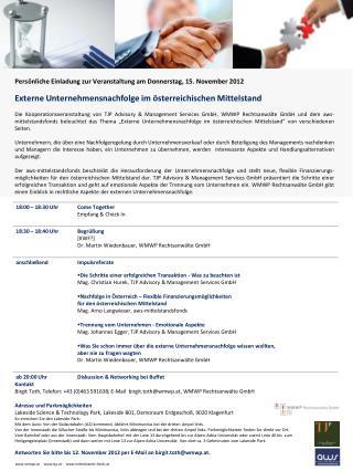 Persönliche Einladung zur Veranstaltung am Donnerstag, 15. November 2012