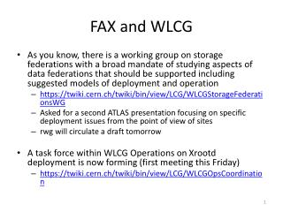 FAX and WLCG