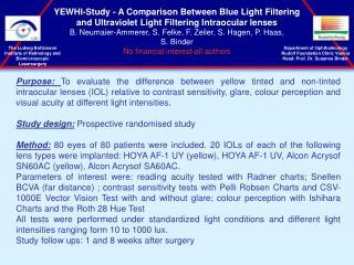 Department of Ophthalmology Rudolf Foundation Clinic Vienna Head: Prof. Dr. Susanne Binder