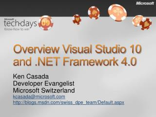 Overview Visual Studio 10 and .NET Framework 4.0