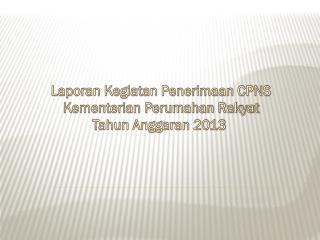 Laporan Kegiatan Penerimaan CPNS Kementerian Perumahan Rakyat Tahun Anggaran 2013