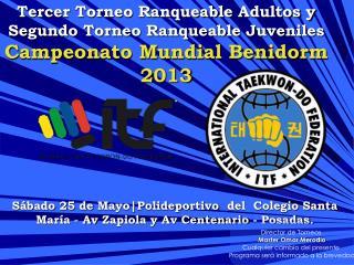 Tercer Torneo  Ranqueable  Adultos y  Segundo Torneo  Ranqueable  Juveniles