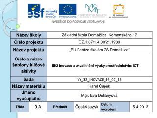 Vzdělávací oblast : Jazyk a jazyková komunikace  Vzdělávací obor : Český jazyk a literatura