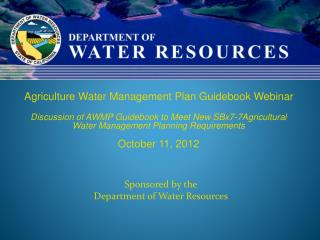 Sponsored by the Department of Water Resources