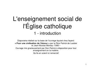 Lenseignement social de l glise catholique 1 - introduction