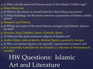 HW Questions:  Islamic Art and Literature