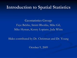 Introduction to Spatial Statistics