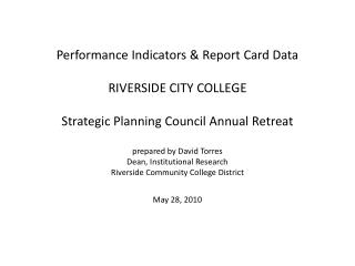 RIV Strategic Planning Committee Data Indicators