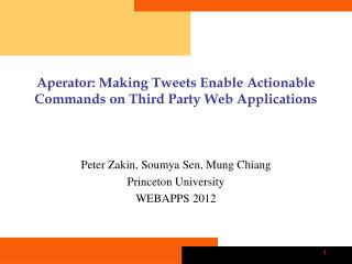 Aperator : Making Tweets Enable Actionable Commands on Third Party Web Applications