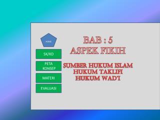 BAB : 5 ASPEK FIKIH SUMBER HUKUM ISLAM HUKUM TAKLIFI HUKUM WAD'I