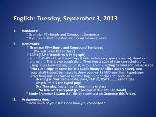 English: Tuesday, September 3, 2013