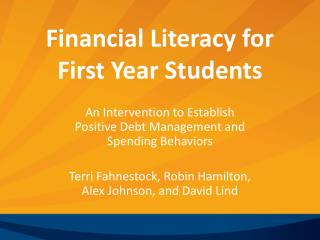 Financial Literacy for  First Year Students