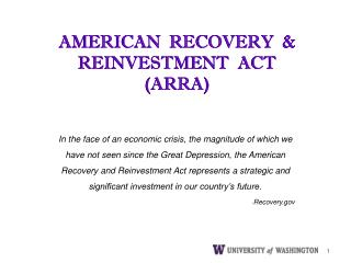 AMERICAN  RECOVERY   REINVESTMENT  ACT  ARRA
