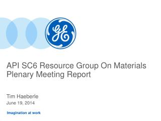 API SC6 Resource Group On Materials Plenary Meeting Report