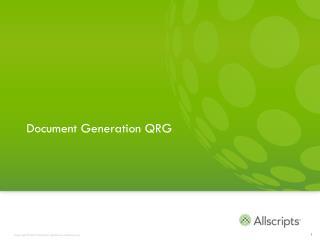 Document Generation QRG