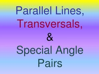 Parallel  Lines, Transversals,  & Special Angle Pairs