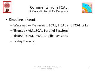 Comments from FCAL B. Cox and R. Ruchti, for FCAL group