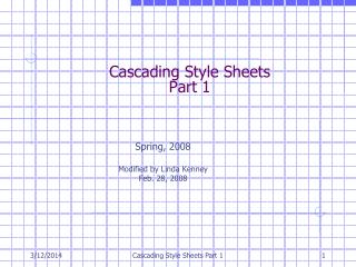 Cascading Style Sheets Part 1