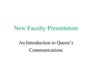 New Faculty Presentation
