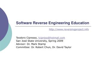 Software Reverse Engineering Education