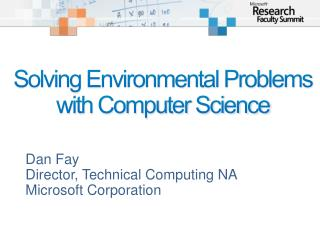 Solving Environmental Problems with Computer Science