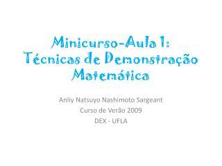 Minicurso-Aula  1: Técnicas de Demonstração Matemática
