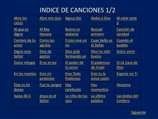 INDICE DE CANCIONES 1/2