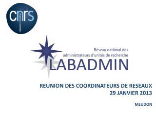 REUNION DES COORDINATEURS DE RESEAUX  29 JANVIER 2013 MEUDON