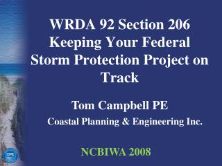 WRDA 92 Section 206 Keeping Your Federal Storm Protection Project on Track