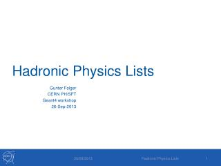 Hadronic  Physics Lists